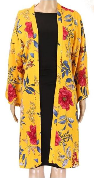 Picture of Mustard bell sleeve kimono