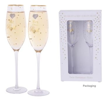 Picture of Mad dots mr & mrs right flutes